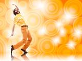 Fototapety 1970s vintage man dance with orange background