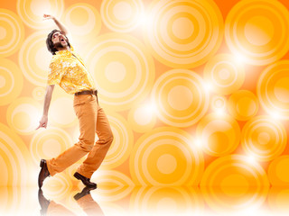 1970s vintage man dance with orange background