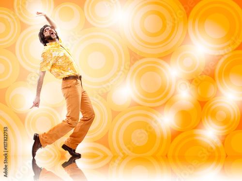 1970s vintage man dance with orange background
