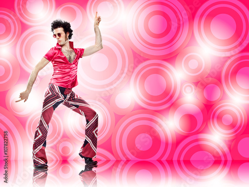 1970s vintage man dance with pink background - 107822758