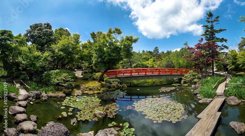 Fototapeta Красивый японский парк с прудом и красным мостом