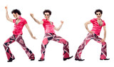Fototapety 1970s vintage man with pink dress dance composition set isolated on white