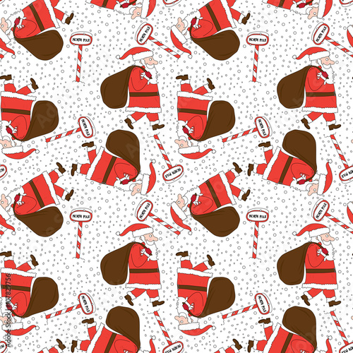 Cotton fabric Seamless Santa Claus pattern