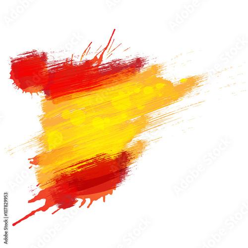 Zdjęcia na płótnie, fototapety, obrazy : Grunge map of Spain with Spanish flag