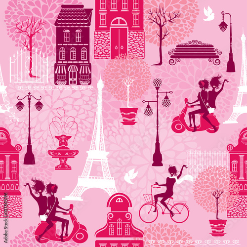 Materiał do szycia Seamless pattern with girls riding on scooter and bicycle, house