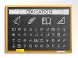Fototapety Education hand drawing line icons. Vector doodle pictogram set. chalk sketch sign illustration on blackboard with hatch symbols, school, elearning, knowledge, learn, subjects, teaching, college.