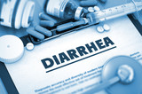 Diarrhea - Medical Report with Composition of Medicaments - Pills, Injections and Syringe. 3D Render.