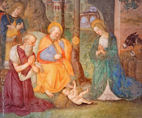 Rome - The fresco Nativity with the St. Jerome by Bernardino Pinturicchio (1488 - 1490) in Rovere chapel in church Basilica di Santa Maria del Popolo. © Renáta Sedmáková