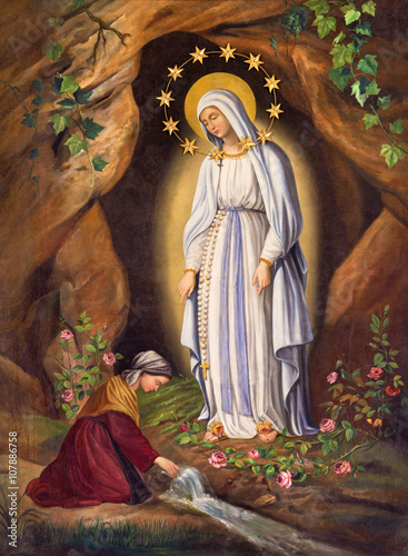 Rome - The Appearance of Virgin to st. Bernadette in Lourdes by unknown artist (1873) in church Chiesa di Santa Maria in Aquiro.