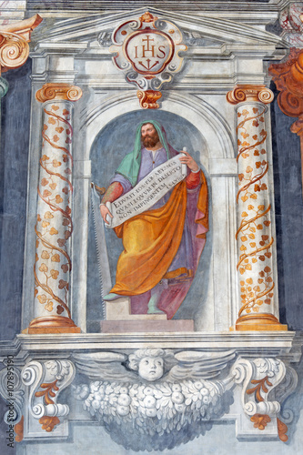 Rome - The prophet Ezekiel fresco in church Basilica di San Vitale by Tarquinio Ligustri (1603) Poster