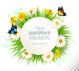 Happy summer holidays background with poppies, daisies and butte
