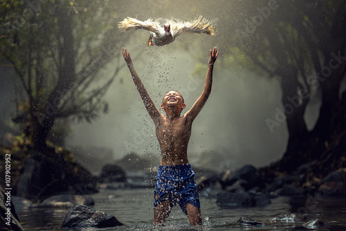 Children playing catch duck in river - 107902952