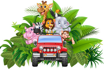 Happy holiday animal africa in the red car