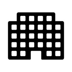 Corporation office building or residential building line art icon