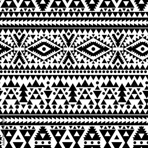 Cotton fabric geometric abstract seamless pattern, ethnic style in black and white