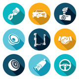 Fototapety Car Repairs and Maintenance Icons Set. Vector Illustration.