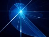 Blue glowing fibonacci spiral fractal