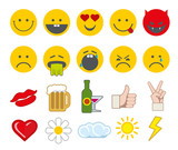 Fototapety Emoticon vector icons set with thumbs up, chat, heart and other icons. Angry smiley, funny smiley, barf face smiley illustration