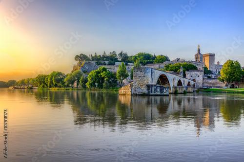 The Pont Saint Benezet and the Palais des Papes in Avignon, South France