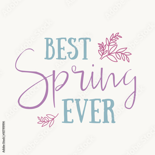 Fototapeta Spring is in the air- hand drawn inspiration quote. Spring Vector watercolor typography design element. Spring Air Brush lettering quote. Spring quote poster. Housewarming vector hand lettering