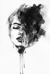 Woman face. Fashion  illustration © Anna Ismagilova