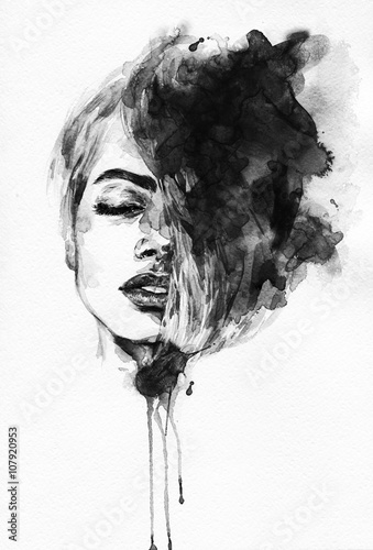 Woman face. Fashion  illustration - 107920953
