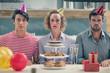 Obrazy na płótnie, fototapety, zdjęcia, fotoobrazy drukowane : Serious friend celebrate indoor with sweets balloons and presents