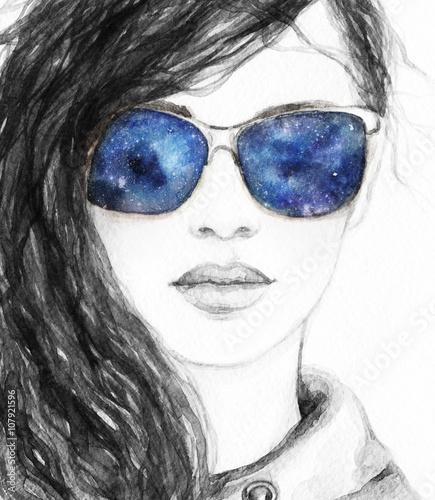 Beautiful woman face. Perfect makeup. Abstract fashion watercolor illustration - 107921596