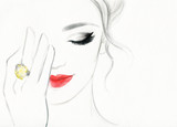 beautiful woman face. colorful makeup . abstract watercolor. fashion illustration - 107921729