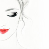 Fototapety beautiful woman face. colorful makeup . abstract watercolor. fashion illustration