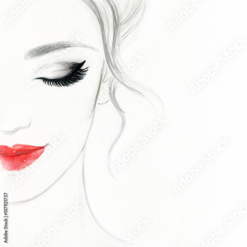 Fotobehang Anna I. beautiful woman face. colorful makeup . abstract watercolor. fashion illustration