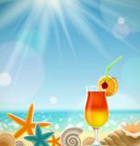 Fototapety Vacances sur la plage avec cocktail et coquillages