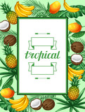 Frame with tropical fruits and leaves. Design for advertising booklets, labels, packaging, menu