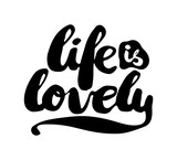 Black and white insulated hand lettering poster stencil. I love life. Vector