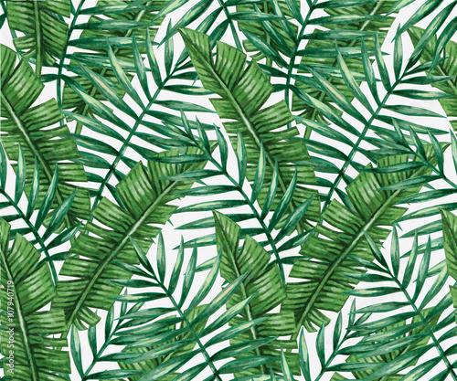 Fototapeta Watercolor tropical palm leaves seamless pattern. Vector illustration.