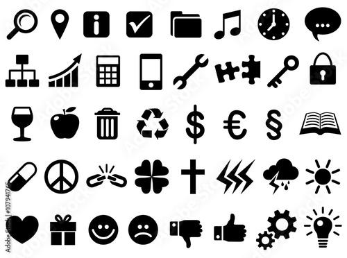 Zestaw ikon: 40 Business-Symbole / schwarz-weiß, Vektor, freigestellt