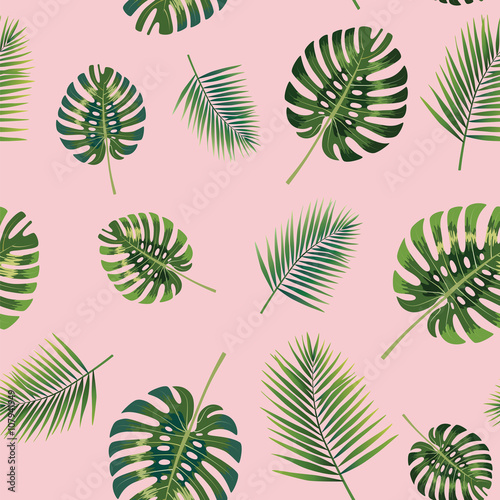 Cotton fabric Palm Tropical leaves seamless pattern.