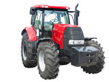 New red powerful tractor isolated over white