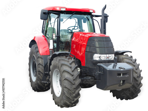 Aluminium Trekker New red powerful tractor isolated over white