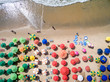 Top View of Umbrellas in a Beach