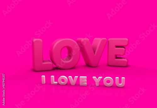 Fotobehang Roze Seni Seviyorum, 3D Tipografi