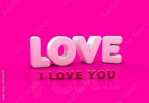 Staande foto Roze Seni Seviyorum, 3D Tipografi