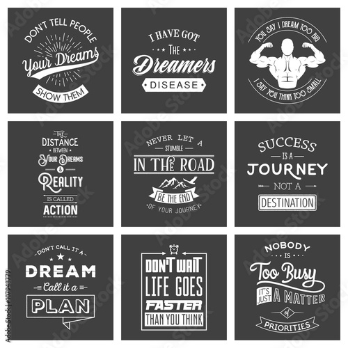Aluminium Vintage Poster Set of vintage motivation typographic quotes.