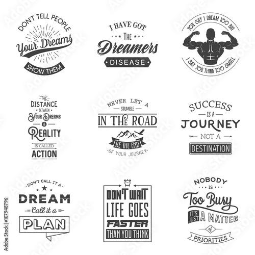 Fotobehang Vintage Poster Set of vintage motivation typographic quotes.
