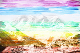 Fantastic mountain landscape, made with colored water color filt