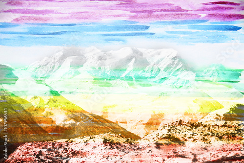 Fototapeta Fantastic mountain landscape, made with colored water color filt