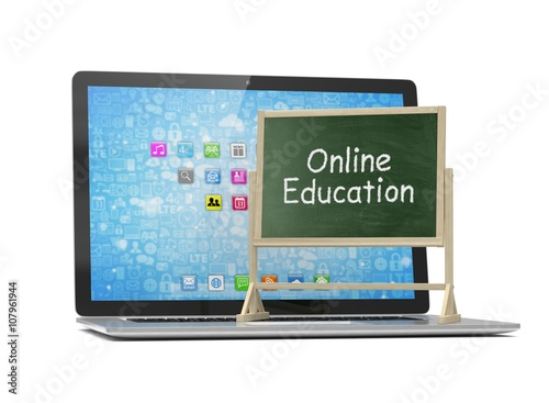 Laptop With Chalkboard Online Education Concept 3d