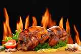 Roast chicken and various vegetables on a chopping wood - 107962382