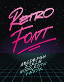 Retro font on light grid background. Vector alphabet