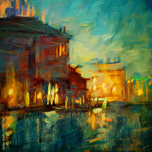 Obraz na Szkle venice night channel, painting by oil on canvas, illustration